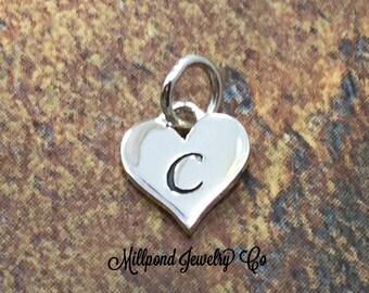 Initial Charm, Letter Charm, C Charm, Letter C Charm, Heart Letter Charm, Alphabet Charm, Sterling Silver Charm