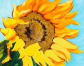 "Sunflower in the Wind Original Botanical Painting Acrylic on Board 4""x4"""