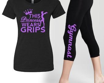 Gymnast Legging and Te Set PRINCESS WEARS GRIPS