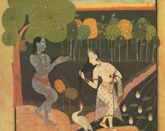 Rambha and the Swan ... Indian Miniature Painting printed reproduction, 1991