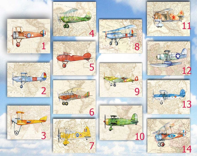 Airplane nursery ANY Set 8x10 prints YOUR choice Military airplane collection Retro aviation Prop aircraft Boys nursery wall art