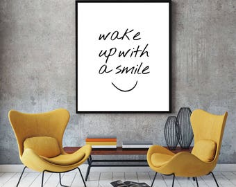 Wake Up With A Smile Quote, Motivational Quote, Typography, Inspirational Print, Digital Print, Home Decor, Wall Art Print, Instant Download