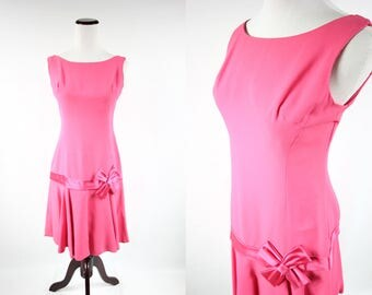1960's Hot pink Sleeveless Bow Party  Dress