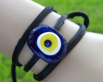Evil eye bead Buffalo Bison leather wrap bangle cuff bracelet wristband  Good Luck Protection NEW Glass 30 inch long bison leather lacing