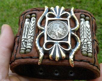 Cuff Buffalo Bison leather customize to wrist size  Rock star Bracelet Ketoh  Buffalo Indian Nickel coin  wristband signed bones nice gift