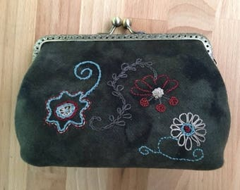 Hand Embroidered Wool Clutch Purse