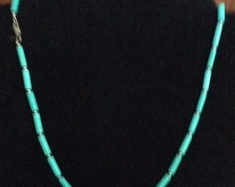 Handmade Beaded Turquoise Necklace 16""
