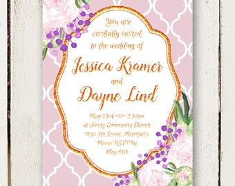 Peony Wedding Invitations - Rose Gold - Unique Invitations - 2 pc including RSVP postcards