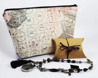 Extra Large Cosmetic Bag - Toiletry Bag - Travel Bag - Makeup Bag - Wet Bag - Accessory Pouch -  in Eclectic Elements Typo