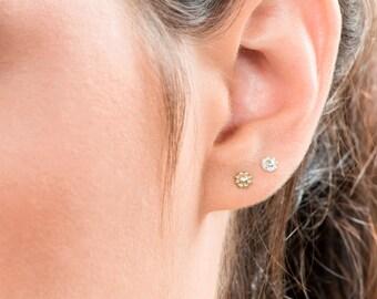 Tiny Flower Earrings, Tiny Gold Earrings, Small Stud Silver Earrings, Flower Earrings, Boho Earrings, Set of 3 Earring, Little Stud Earrings