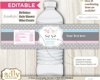 DIY Editable Twins Lamb Water Bottle Wrapper, Label Digital File, print at home for birthday, baby shower, baptism Polka - oz94bTW5c