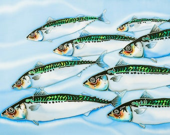 Mackerel silk painting