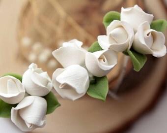 White rose flower hair pins, white rose hair pins, bridal hair accessories, white flower hair pins, wedding flower, Bridal hair flower, clay