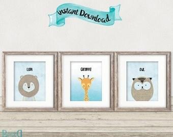 Set of 3 baby animals prints,nursery animals printable,animals nursery,baby room decor,lion printable,owl printable,giraffe printable