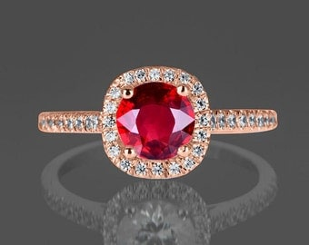 Limited Time Sale: 1.25 Carat Red Ruby and Diamond Engagement Ring in 10k Rose Gold for Women on Sale