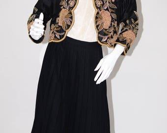 Vintage Estate Black Ralph Lauren Lambs Wool Box Pleated Skirt