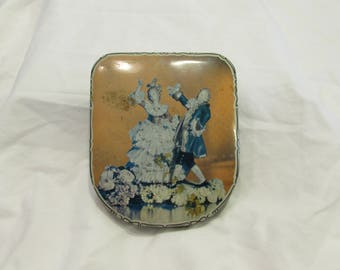 Candy Tin, Flat Aspect, Colonial Couple Dancing on Lid, Great Britain, 1950's