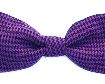 Purple Houndstooth Check Dog Bowtie