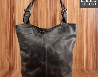 LECONI-LAN bag of shopper bag leather bag lady bag soft leather vintage look grey LE0033-wax