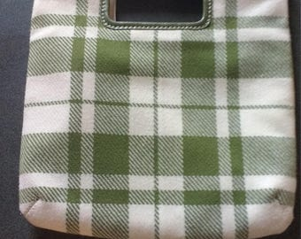 Vintage Banana Republic plaid and leather purse. Green wool plaid and leather clutch.