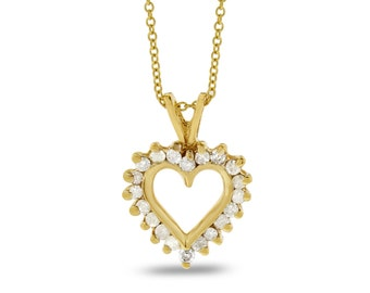 0.20 Ct. Natural Diamond Baby Heart Pendant 10k Solid Yellow Gold