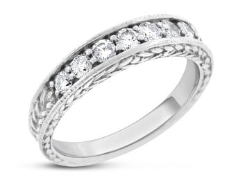 0.50 Ct. Natural Diamond Feather Etched Wedding Band Ring Solid 14k White Gold