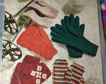 Knitting pattern 1960's gloves and mittens