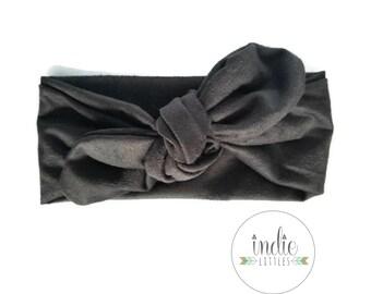 Black Suede Bow Tied Headwrap / Tied Turban Headband Newborn Baby Girl Children Women Turban Photo Prop Headbands Adult Black Headwraps