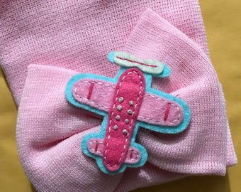 NEW! Pink Extra Big Bow Beanie with Airplane Newborn Hospital Beanie Hat. Perfect 1st Keepsake! Great Baby Gift! Every Baby Needs One!
