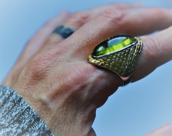 Peridot Statement Ring,  August Birthstone. Gold Solitaire Ring, fine jewellery, Cabochon ring, one of a kind, silver and peridot