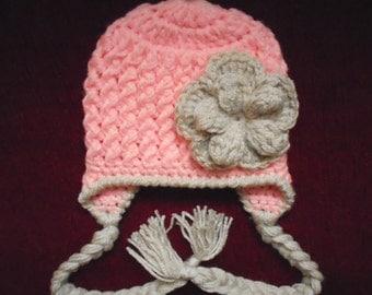 Crochet earflap hat Baby winter hat Baby earflap hat Baby girl winter hat Pink baby hat Newborn girl hat Crochet baby hat Baby girl hat