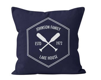 Personalized Pillow Cover, Family Name lake house decor, custom family crest lake pillow housewarming gift, custom lake pillow hostess gift