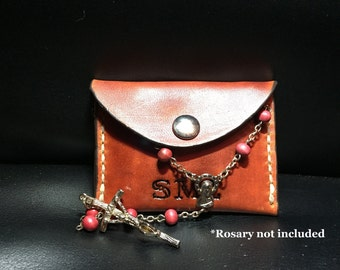"Small Leather Handmade Rosary Pouch/Holder -Length 3.5""x Width 2.5"""