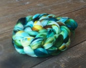 BLUE MALACHITE color spinning fiber, Organic, Polwarth, roving, spinning, handpainted, hand dyed, top, wool
