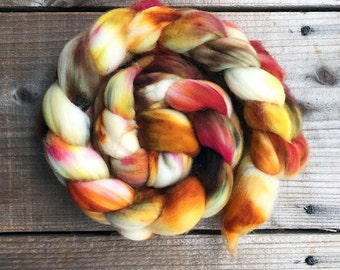 BRILLIANCE A color, Superwash Targhee spinning fiber, roving, handpainted, hand dyed, combed top, domestic, American made, wool