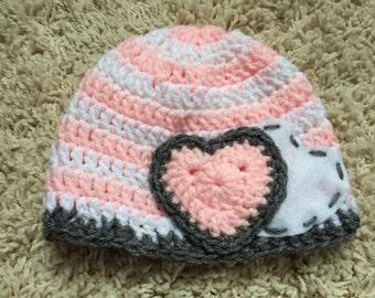 Crochet & Felt Heart Beanie