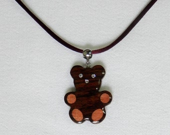 wooden ted bear necklace