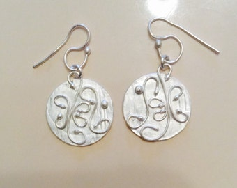 Round Fine Silver and Filigee Earrings Hand Forged with an Original Soldered Filigree Design