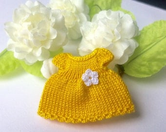 Miniature doll clothes, yellow cotton dress for 2.7 inch doll, mini doll clothes, miniature  toys clothing