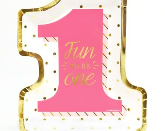 First Birthday Girl Gold Foil Print Dinner Plates - Fun to Be One Tableware - Pink Dinner Plates - 1st Birthday Party Supplies - 8 ct