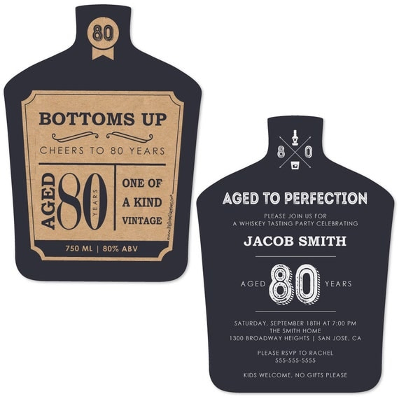 80th birthday party invites aged to perfection invitations