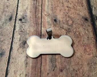 Dog bone stamping blank stainless steel - dog tag blank, silver dog bone blank, DIY dog tag, hand stamping dog bone, pet tag blank
