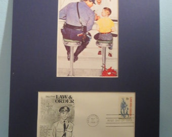 Honoring the Police Officers of America - Norman Rockwell's painting - The Runaway & First Day Cover of the Law and Order Stamp