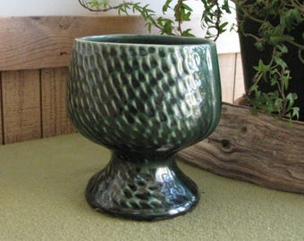 Forest Green Footed Flower Pot Compote Vintage Planters and Pots Succulent Planter