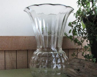 Vintage Clear Glass Vase Pineapple Styled Flared Anchor Hocking Vintage Florist Ware Bouquets