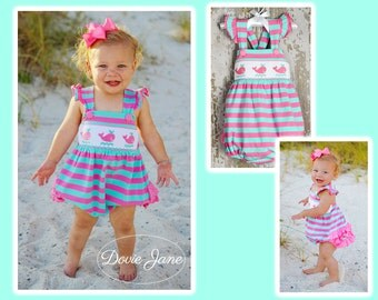 Whale Bubble, Smocked Bubble, Baby Beach Romper, Toddler Girl Bubble, Girls Beach Romper, Baby Ruffle Bubble, Bubble Romper, Ruffle Romper,