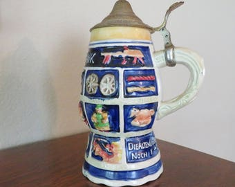 Vintage Schnitzel Bank, Musical, stein with lid, made in Japan-free shipping USA