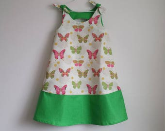 Little Girl Spring and Summer Sleeveless Dress, Colorful Butterflies with Shamrock Green Accent, Size 6
