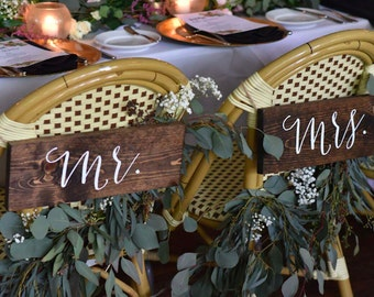 Mr and Mrs Chair Signs -Mr and Mrs Signs For Back of Chair -Mr and Mrs Chair Signs Wedding - Mr and Mrs Chairs - Sophia Collection