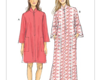 Vogue Sewing Pattern V9232 Misses' Zip-Front Caftans with Packets